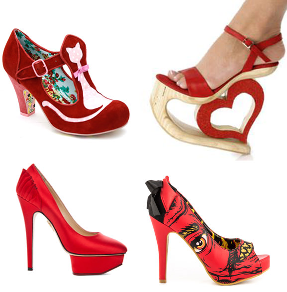 unusual red shoes designs