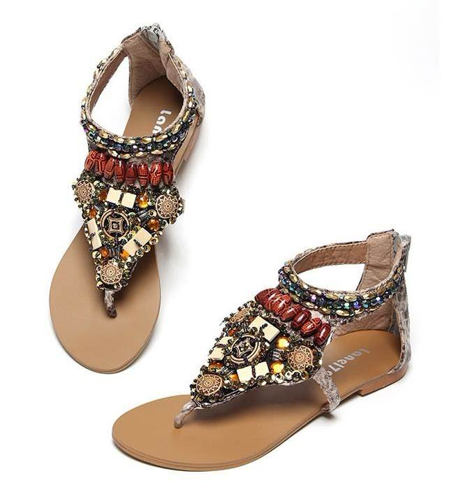 5 flat sandals with jewelry