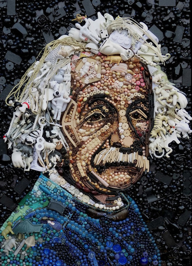 Albert Einstein button art