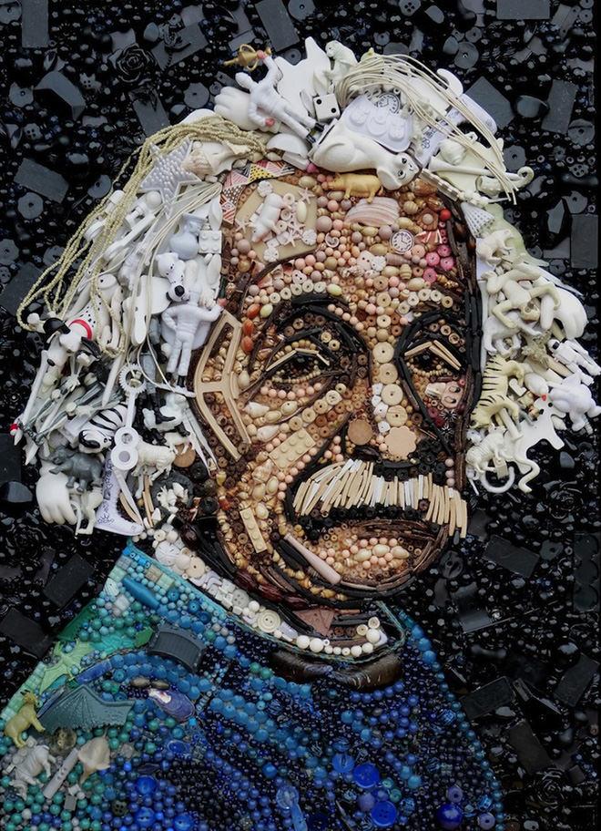 Albert Einstein button art