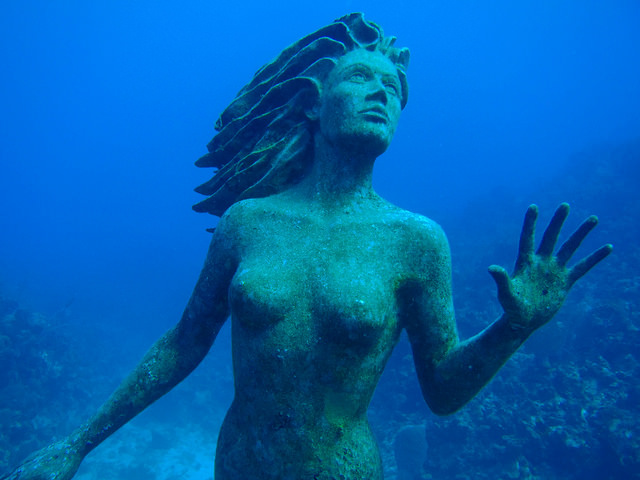 Amphitrite, a 9 bronze sculpture at Sunset Reef off of Grand Cayman