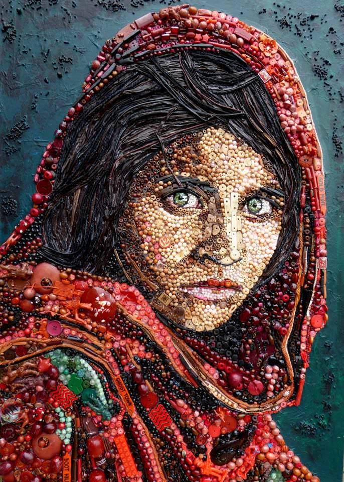 Afghan Girl button art