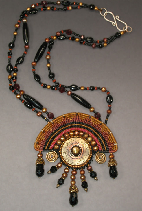 Aztec Sun Necklace in Autumn colors