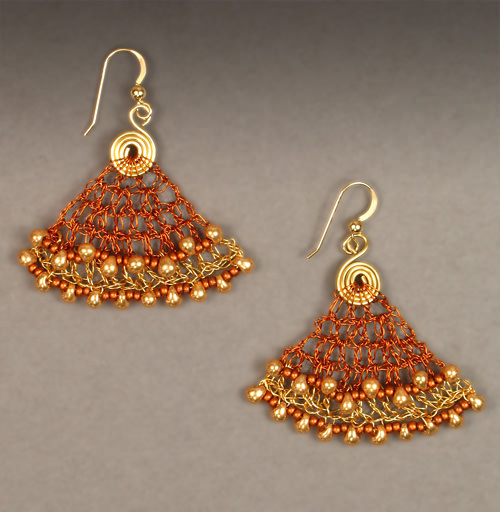 Crocheted Wire BellsBrown and Gold