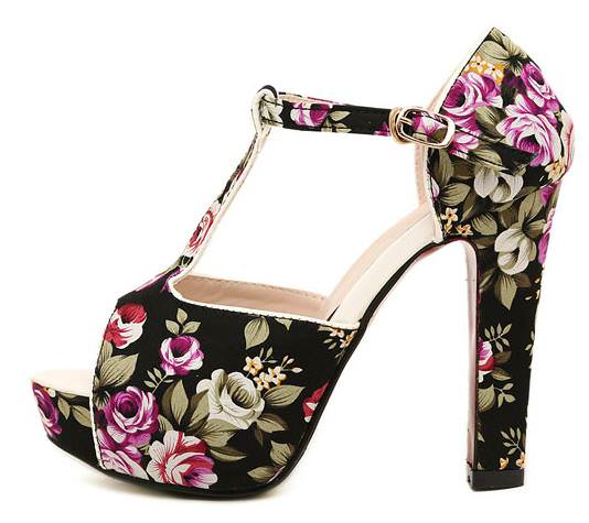 Floral Heels black 1