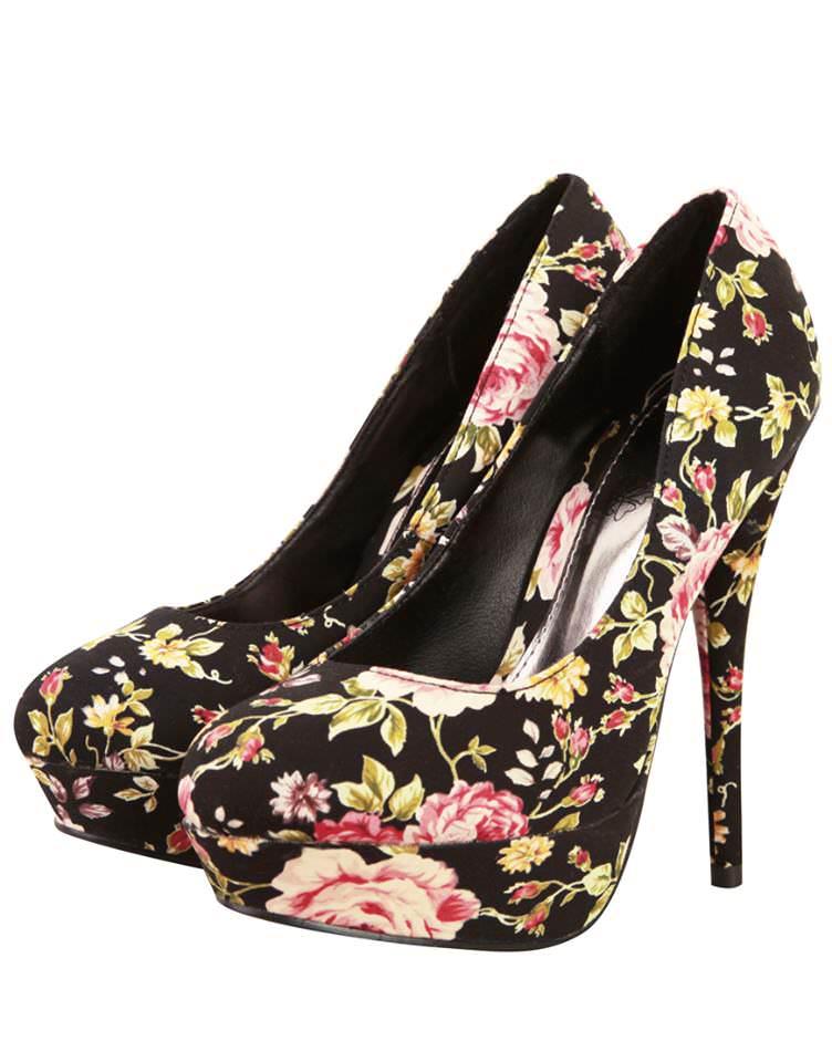 Floral Heels black 2