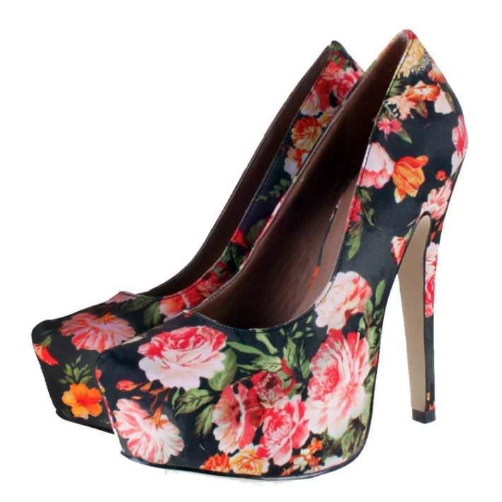 Floral Heels black 3