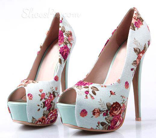 Floral Heels white 3