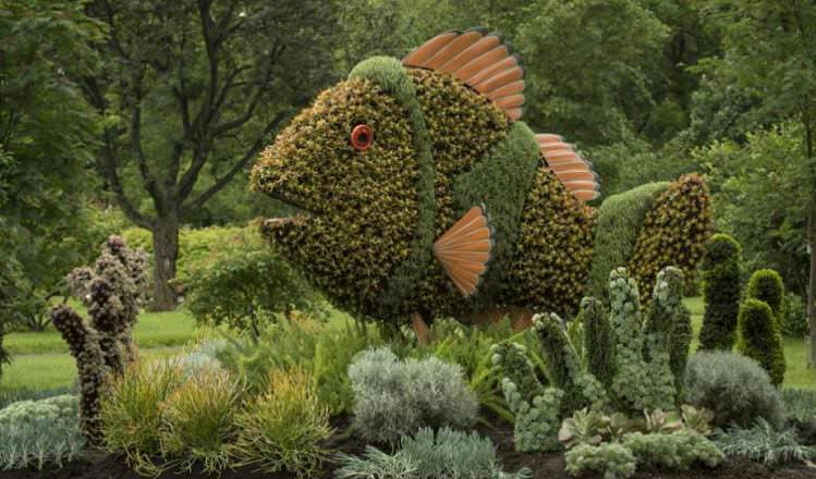 Grass sculptures fish