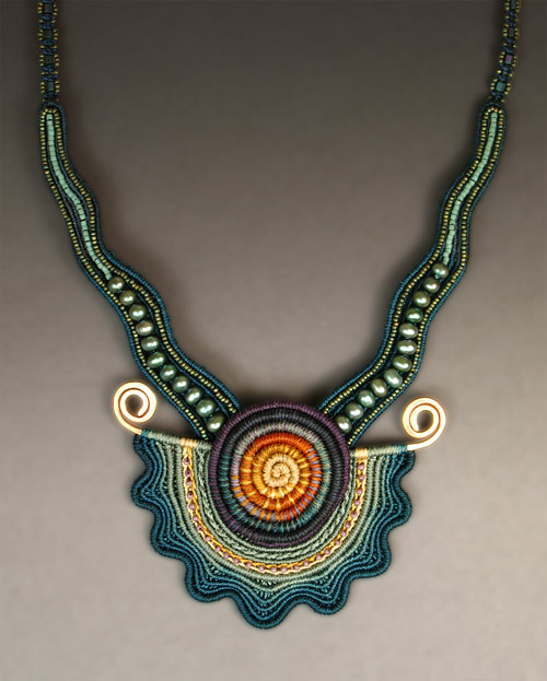 Seashell Necklace in Blues (based on original design Seashell Series #5 )