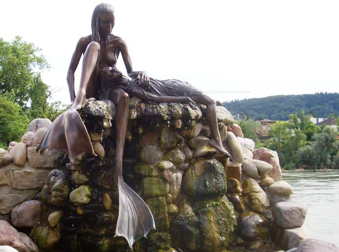 St. Anna Mermaid statue in Rheinfelden, Germany