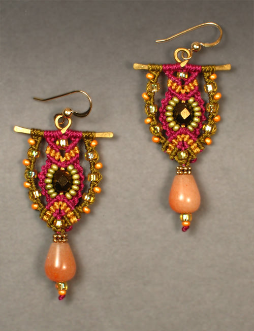 Tradewinds earrings in Plum, olive, and gold