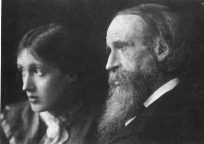 Virginia Woolf with her father Leslie Stephen at Talland House in St. Ives in 1892.