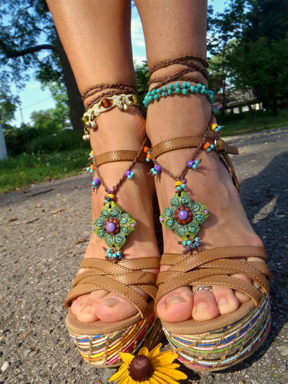 barefoot-sandals and heals blue