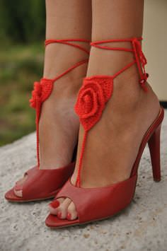 barefoot-sandals and heals red