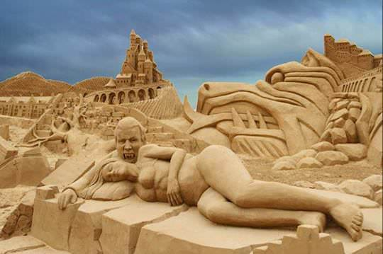 woman in sand