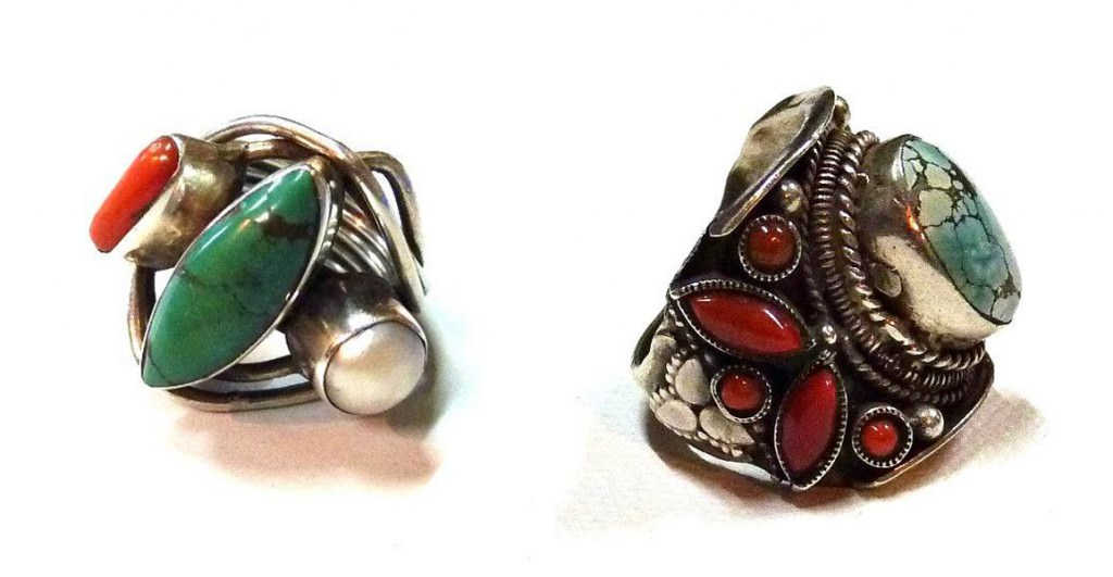 bohemian sliver ring with color stone