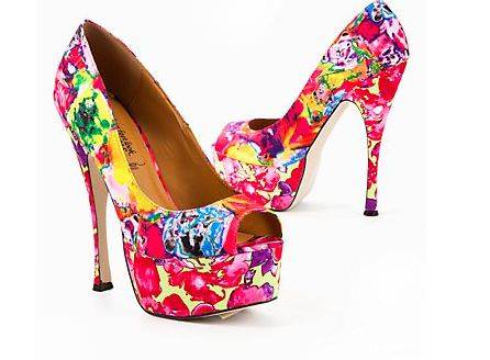 various colors floral heels 1