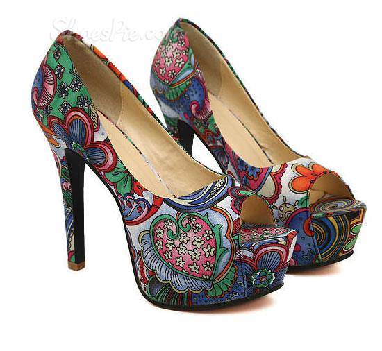 various colors floral heels 4