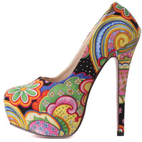 various colors floral heels 5