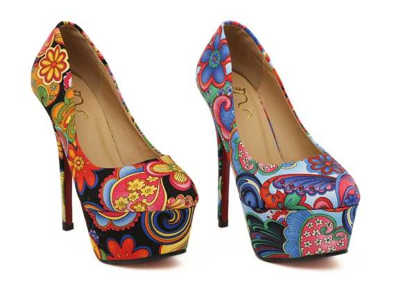 various colors floral heels 6