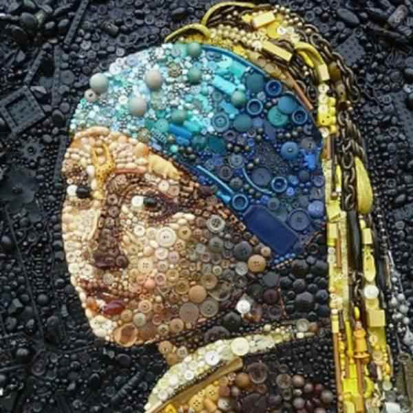 Girl with a Pearl Earring button art