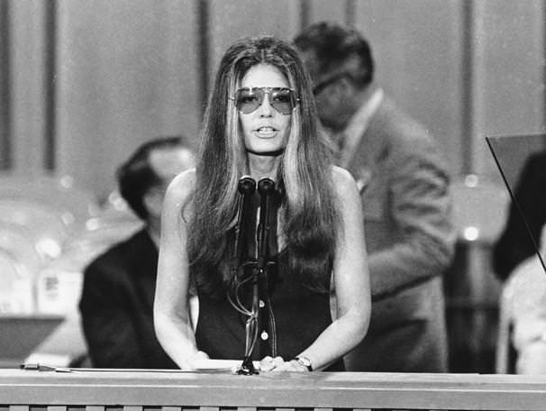 Gloria Steinem speaks at the Democratic National Convention in Miami Beach