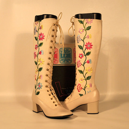 go go boots with flowers
