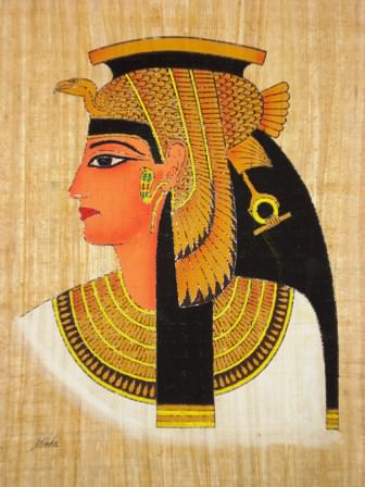 cleopatra on papyrus with red lipstic 1