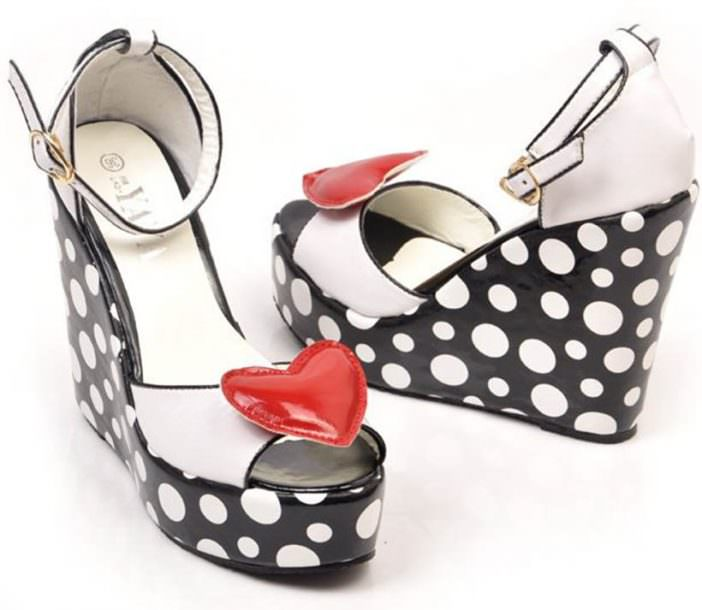 Black and white polka dot platforms