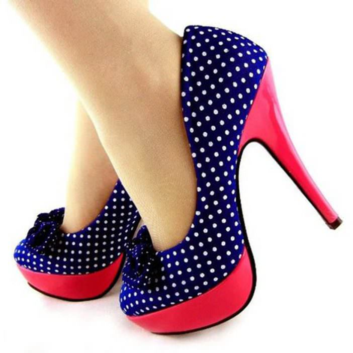 Blue and white with red platforms polka dot shoes