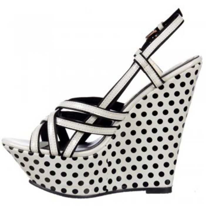 Dolcis strappy wedge platforms black and white polka dot