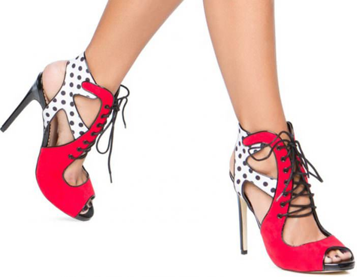Laced Up Polka Dot Dazzle Shoes