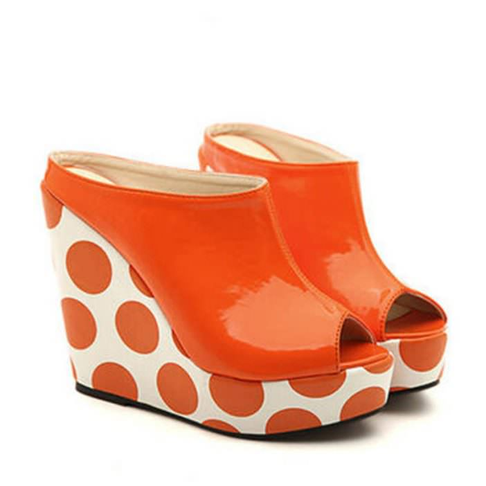 Wanelo orange polka dot shoes