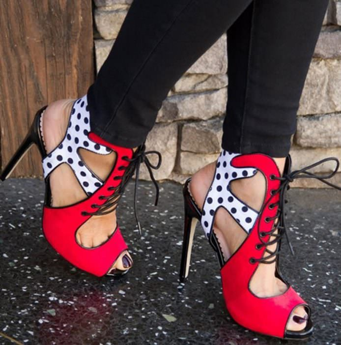 Polka dot read and white with jeans