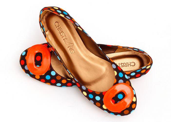 Retro polka dot ballerina flats