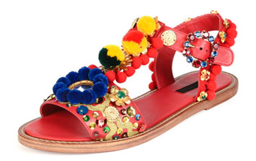 17 Dolce and Gabbana Pom Pom sandals