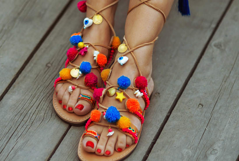 3 Pom Pom Sandals many solors