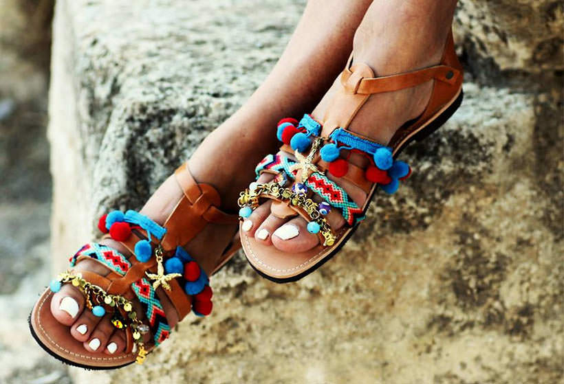 6 Pom Pom Sandals see color