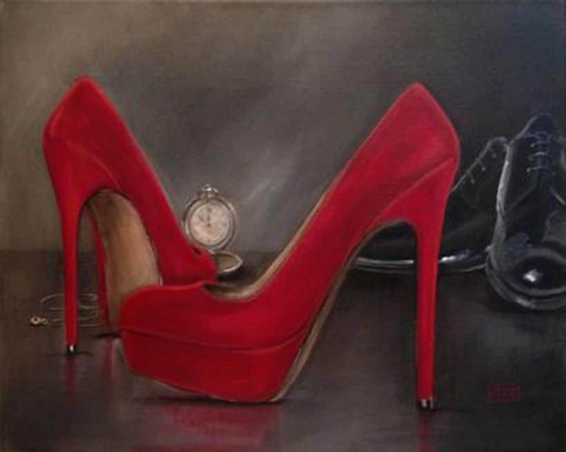Somewhere In Time Red Shoe series by Jacqui Faye acrylic on linen, deep profile